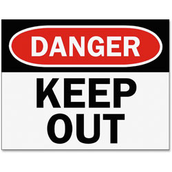 Tarifold Safety Sign Inserts-Danger keep Out, Red/Black