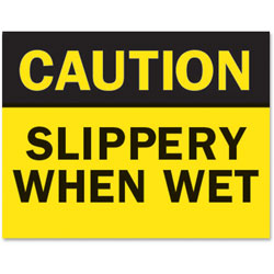 Tarifold Safety Sign Inserts-Caution-Wet, Yellow/Black
