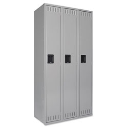 Tennsco Single Tier Locker, Three Units, 36w x 18d x 72h, Medium Gray