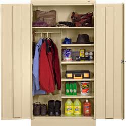 Tennsco Combination Wardrobe/Storage Cabinet, 36 inx18 inx72 in, Putty