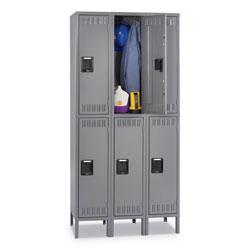 Tennsco Double Tier Locker with Legs, Triple Stack, 36w x 18d x 78h, Medium Gray