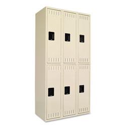Tennsco Double Tier Locker, Triple Stack, 36w x 18d x 72h, Sand