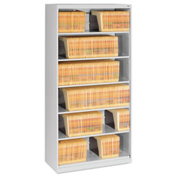 Tennsco Open Fixed Six-Shelf Lateral File, 36w x 16.5d x 75.25h, Light Gray