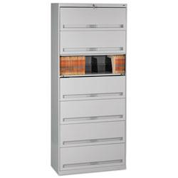 Tennsco Closed Fixed Seven-Shelf Lateral File, 36w x 16.5d x 87h, Light Gray