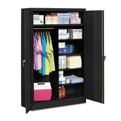 Tennsco Jumbo Combination Steel Storage Cabinet, 48w x 24d x 78h, Black