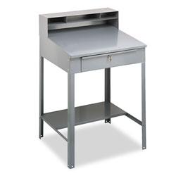 Tennsco Open Steel Shop Desk, 34.5w x 29d x 53.75h, Medium Gray
