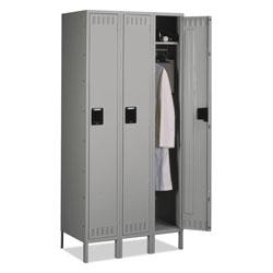 Tennsco Single Tier Locker with Legs, Three Units, 36w x 18d x 78h, Medium Gray