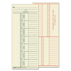 TOPS Time Card for Cincinnati, Named Days, Two-Sided, 3 3/8 x 8 1/4, 500/Box
