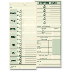 TOPS Time Card for Pyramid Model 331-10, Weekly, Two-Sided, 3 1/2 x 8 1/2, 500/Box