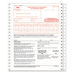 TOPS 1096 Summary Transmittal Tax Forms, 2-Part Carbonless, 8 x 11, 10 Forms