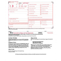 TOPS W-3 Tax Form, Lttr, 2-Part Carbonless, 10 Continuous Forms