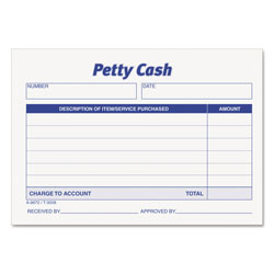 TOPS Received of Petty Cash Slips, 3 1/2 x 5, 50/Pad, 12/Pack