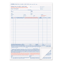 TOPS Bill of Lading,16-Line, 8-1/2 x 11, Three-Part Carbonless, 50 Forms
