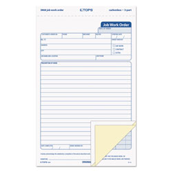 TOPS Snap-Off Job Work Order Form, 5 2/3 in x 8 5/8 in, Three-Part Carbonless, 50 Forms