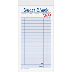 "TOPS Guest Check Books, 2 Parts, 3 3/8""x5 1/2"""