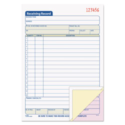 TOPS Receiving Record Book, 5 9/16 x 7 15/16, Three-Part Carbonless, 50 Sets/Book