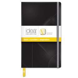 TOPS Idea Collective Journal, 1 Subject, Wide/Legal Rule, Black Cover, 8.25 x 5, 120 Sheets
