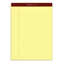 TOPS Docket Gold Ruled Perforated Pads, Wide/Legal Rule, 8.5 x 11.75, Canary, 50 Sheets, 12/Pack