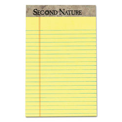 TOPS Second Nature Recycled Ruled Pads, Narrow Rule, 5 x 8, Canary, 50 Sheets, Dozen