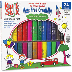 The Pencil Grip Kwik Stix Solid Tempera Paint Sticks, 24/PK, Ast