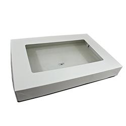 Honeymoon Paper Wax Coated Baker's Tray, 25 3/4 inx18 inx3 1/2 in, White