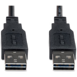 Tripp Lite Reversible USB 2.0 A To A, 10', Hi-Speed Cable, Black