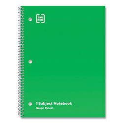 TRU RED™ One-Subject Notebook, Quadrille Rule, Green Cover, 10.5 x 8, 70 Sheets