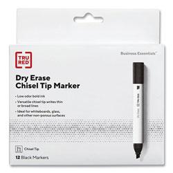 TRU RED™ Tank Style Dry Erase Marker, Medium Chisel Tip, Black, Dozen