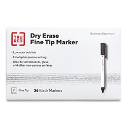 TRU RED™ Pen Style Dry Erase Marker, Fine Bullet Tip, Black, Dozen