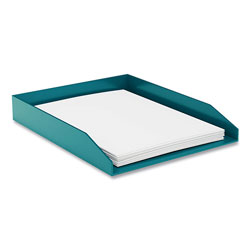 TRU RED™ Front-Load Stackable Plastic Document Tray, 1 Section, Letter Size Files, 9.8 x 12.24 x 1.75, Teal