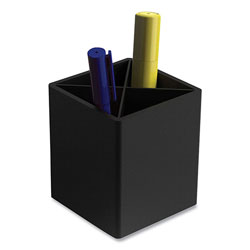 TRU RED™ Divided Plastic Pencil Cup, 3.31 x 3.31 x 3.87, Black