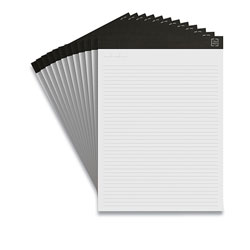 TRU RED™ Notepads, Narrow Rule, White Sheets, 8.5 x 11.75, 50 Sheets, 12/Pack