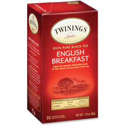 Twinings Tea Bags, English Breakfast, 1.76 oz, 25/Box