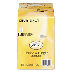 Twinings Tea K-Cups, Lemon Ginger, 0.11 oz K-Cups, 24/Box