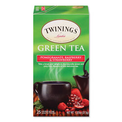 Twinings Tea Bags, Green with Pomegranate, Raspberry and Strawberry, 1.32 oz Tea Bag, 25 Tea Bags/Box