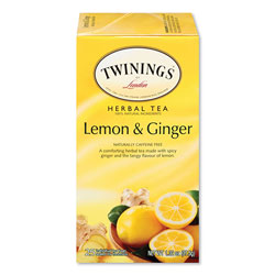 Twinings Tea Bags, Lemon and Ginger, 1.32 oz Tea Bag, 25 Tea Bags/Box
