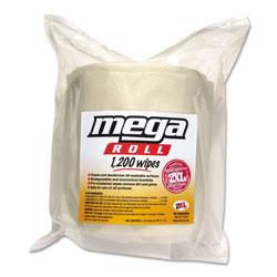 2XL Gym Wipes Mega Roll Refill, 8 x 8, White, 1200/Roll, 2 Rolls/Carton
