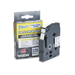 Brother TZ Industrial Series Fabric Iron-On Tape, 0.47 in x 9.8 ft, Navy on White