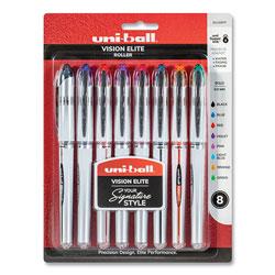 Uni-Ball VISION ELITE Stick Roller Ball Pen, Bold 0.8 mm, Assorted Ink/Barrel, 8/Pack
