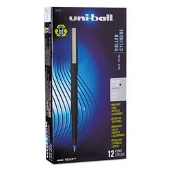 Uni-Ball Stick Roller Ball Pen, Micro 0.5mm, Blue Ink, Black Matte Barrel, Dozen