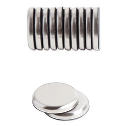 U Brands High Energy Magnets, Circle, Silver, 1.25 in Dia, 12/Pack