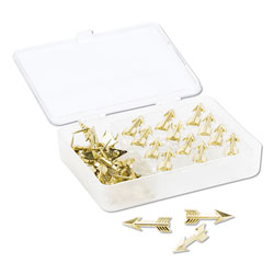 U Brands Fashion Push Pins, Steel, Gold, 3/8 in, 36/Pack