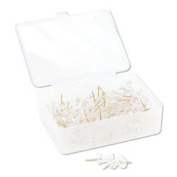 U Brands Standard Push Pins, Plastic, Clear, Gold Pin, 7/16 in, 100/Pack