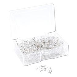 U Brands Standard Push Pins, Plastic, Clear, Silver Pin, 7/16 in, 200/Pack