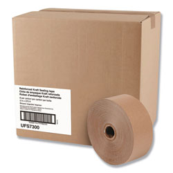 United Facility Supply Glass-Fiber Reinforced Gummed Kraft Sealing Tape, 3 in Core, 3 in x 375 ft, Brown, 8/Carton