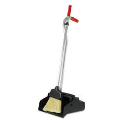 Unger Ergo Dustpan With Broom, 12 Wide, Metal w/Vinyl Coated Handle, Red/Silver