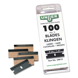 Unger Safety Scraper Replacement Blades, #9, Stainless Steel, 100/Box