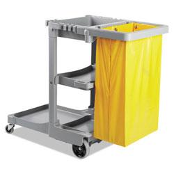 Boardwalk Janitor's Cart, Three-Shelf, 22w x 44d x 38h, Gray