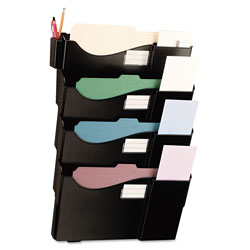 Universal Grande Central Filing System, Four Pocket, Wall Mount, Plastic, Black