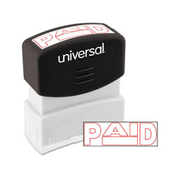 Universal Office Products Message Stamp, PAID, Pre-Inked One-Color, Red